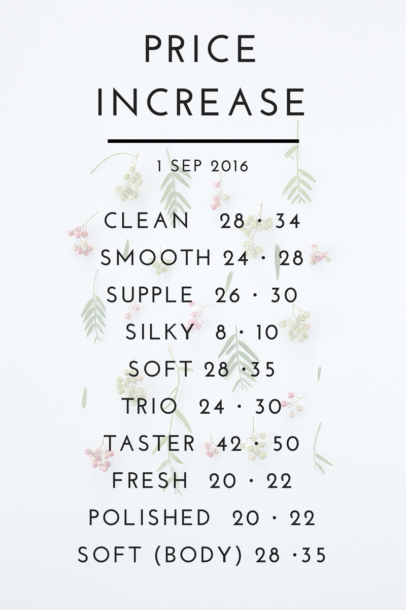 Delicious Skin- revised price list