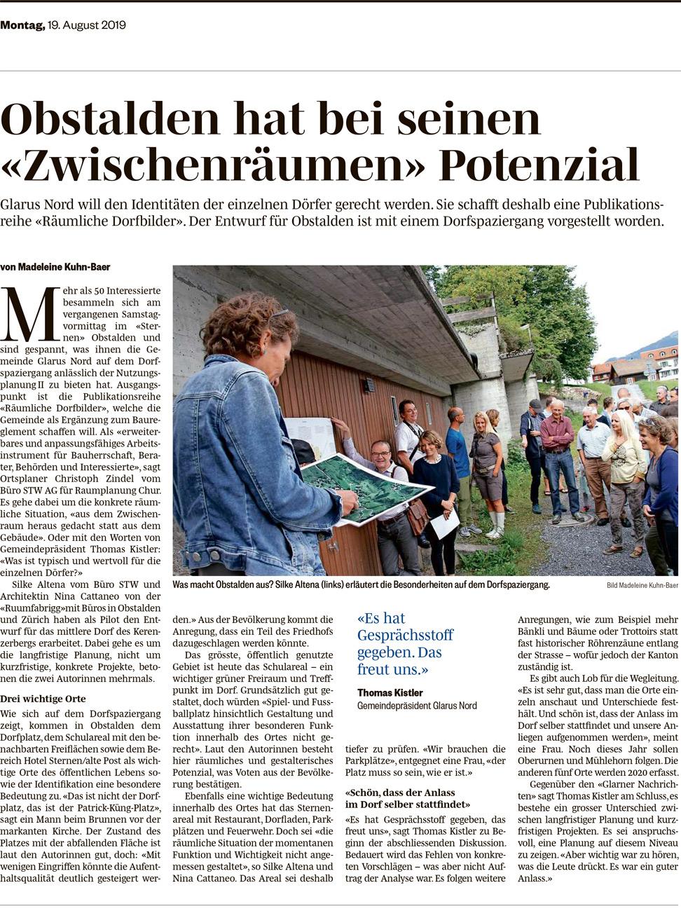 17. August 2019 - Im Rahmen eines Dorfspaziergangs mit der Bevölkerung haben wir das Räumliche Dorfbild von Obstalden vorgestellt. Bei diesem Projekt arbeiten wir als Architekten zusammen mit den Raumplanern der STW AG, Chur und liefern gemeinsam einen Beitrag zur Nutzungsplanungsrevision der Gemeinde Glarus Nord.