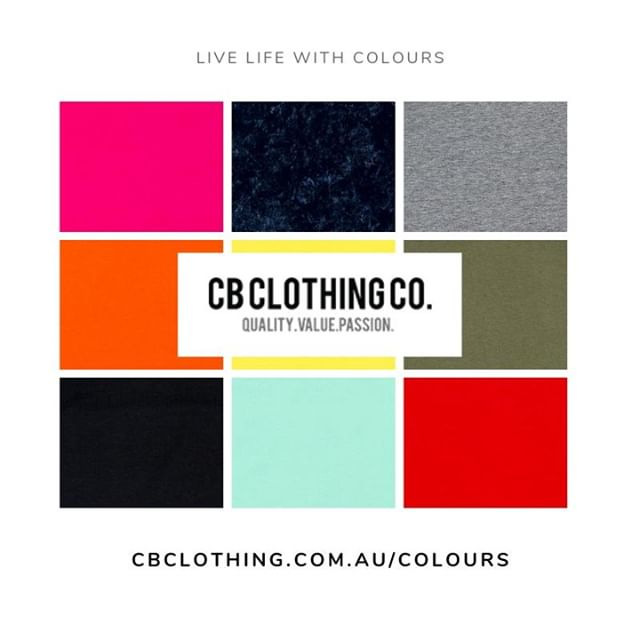 CB Clothing offers a wide variety of colours Check out our complete swatch here:  https://www.cbclothing.com.au/colours/