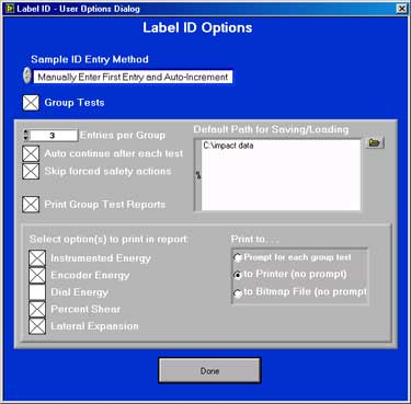 Label ID Dialog Options Box