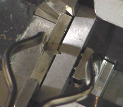 MPM Tongs - Tool is Centered  between Anvil Radius when  Specimen is Deposited