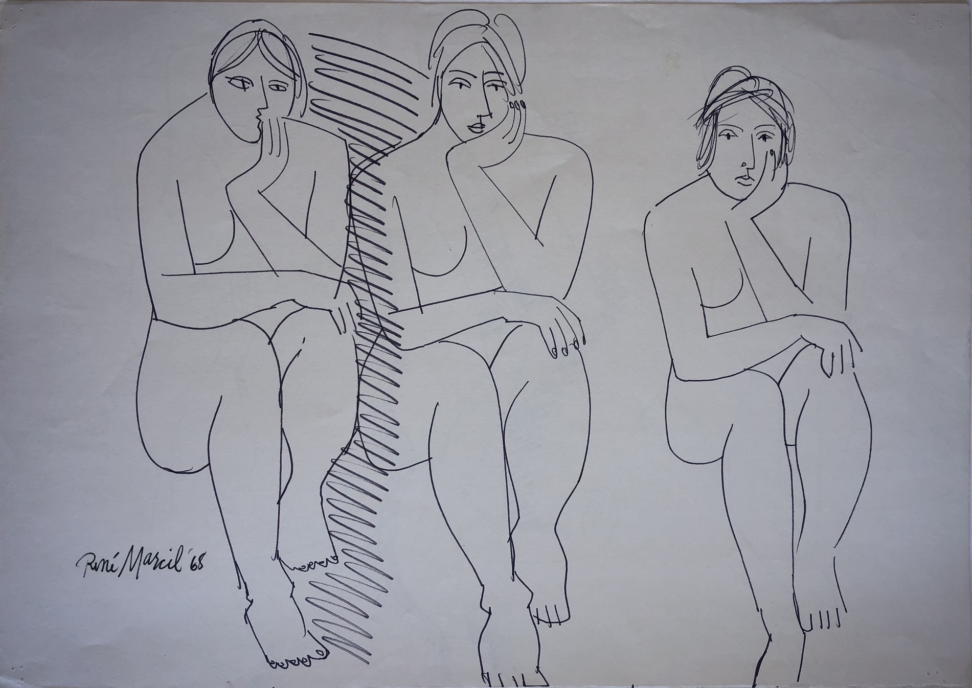 René Marcil Three Figures Ink on paper (sketch on verso, shown below) Signed, dated lower left 1968 16.5 x 23.25 in $1,800