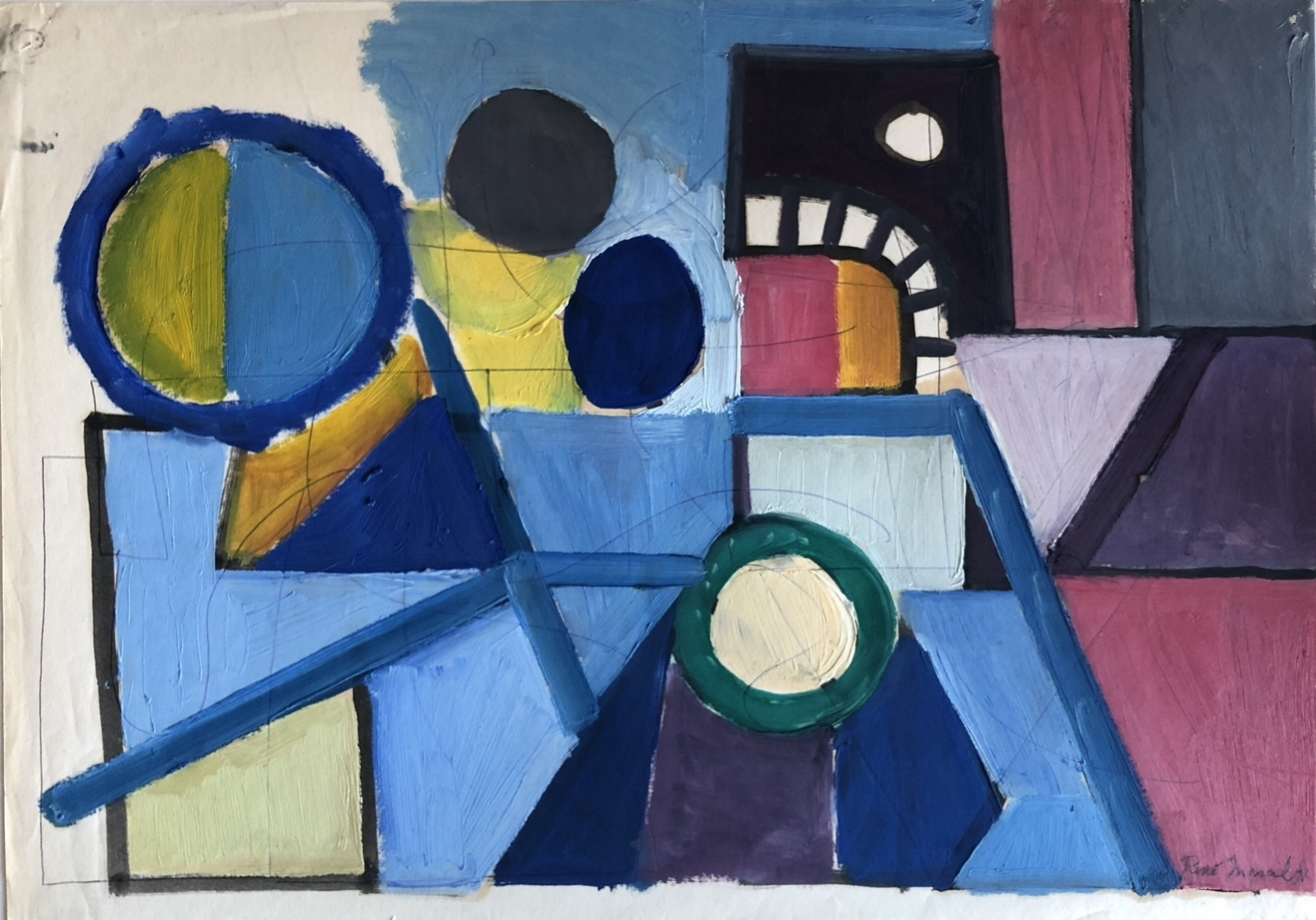 RenéMarcil Composition Gouache on paper Signed lower right 1971 16.5 x 23.35 in $4,500