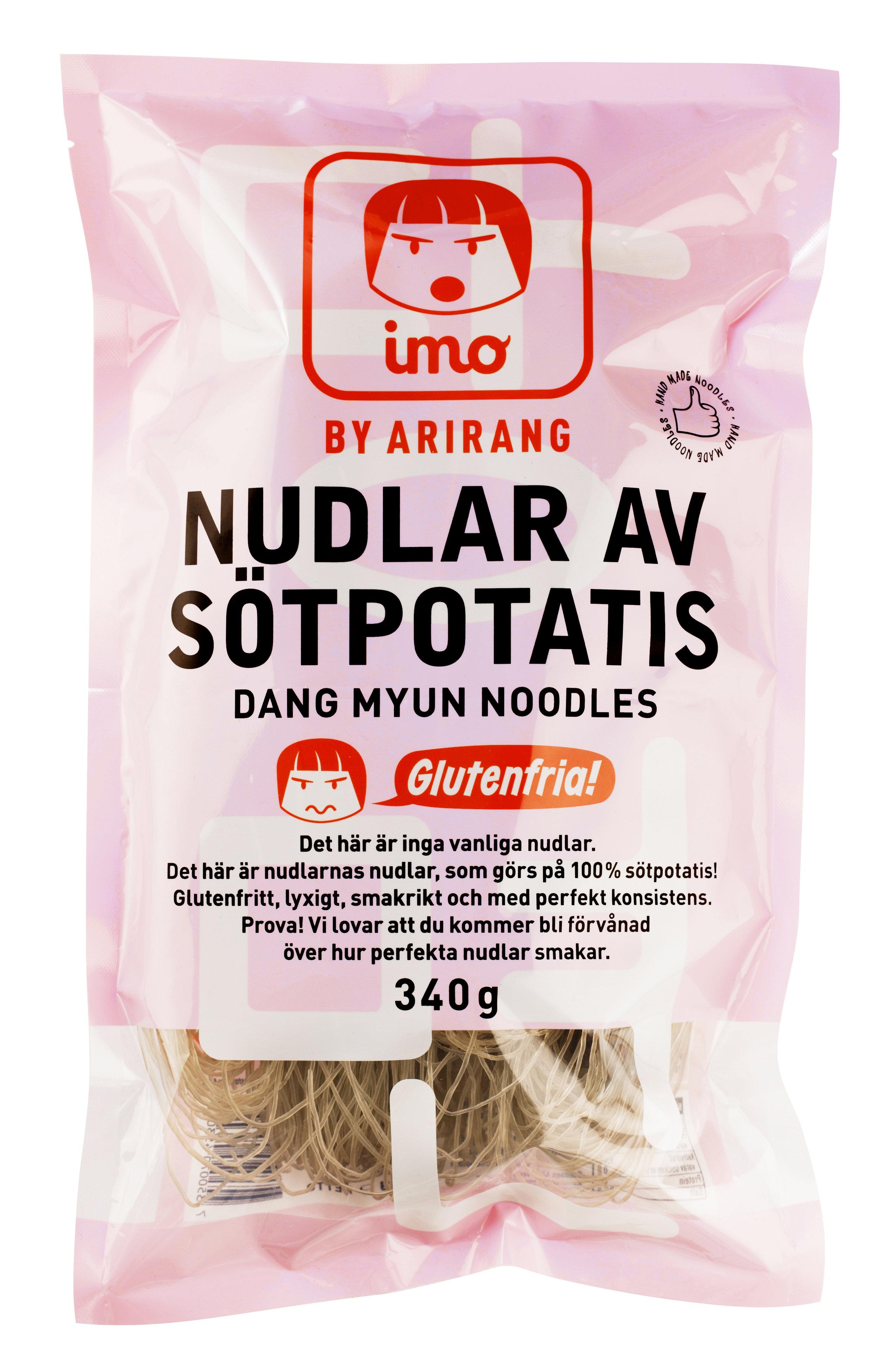 På koreanska heter de här nudlarna Dang Myun-nudlar och görs på 100% sötpotatis. De är alltså automatiskt glutenfria.