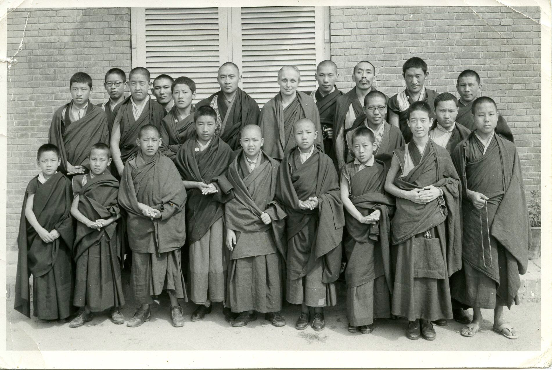 Young Lamas School. Rinpoche, Mrs Bedi, back row