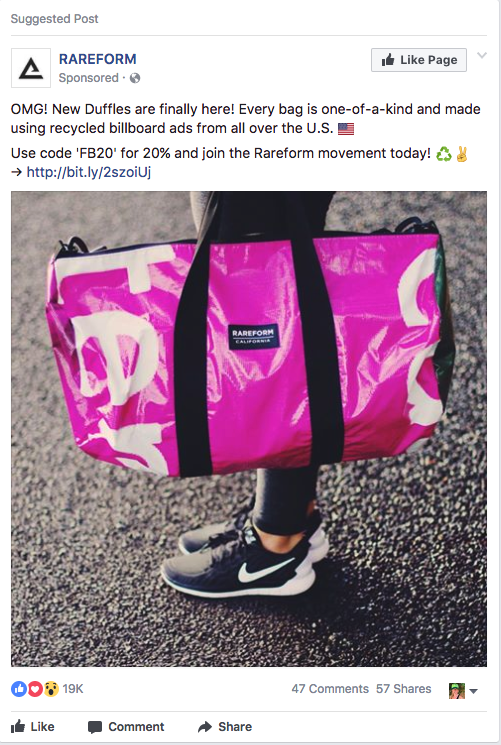 How did this  Rareform Facebook Ad get 19K likes, 47 Comments and 57 Shares?
