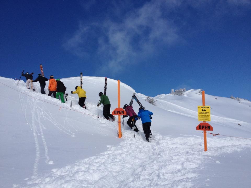 Heading out the gates at Snowbasin Resort, Utah.