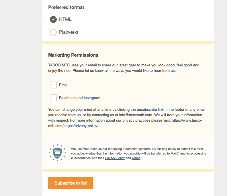 An example of how our client TASCO MTB has changed to their Mailchimp opt-in form to be in compliance with GDPR.