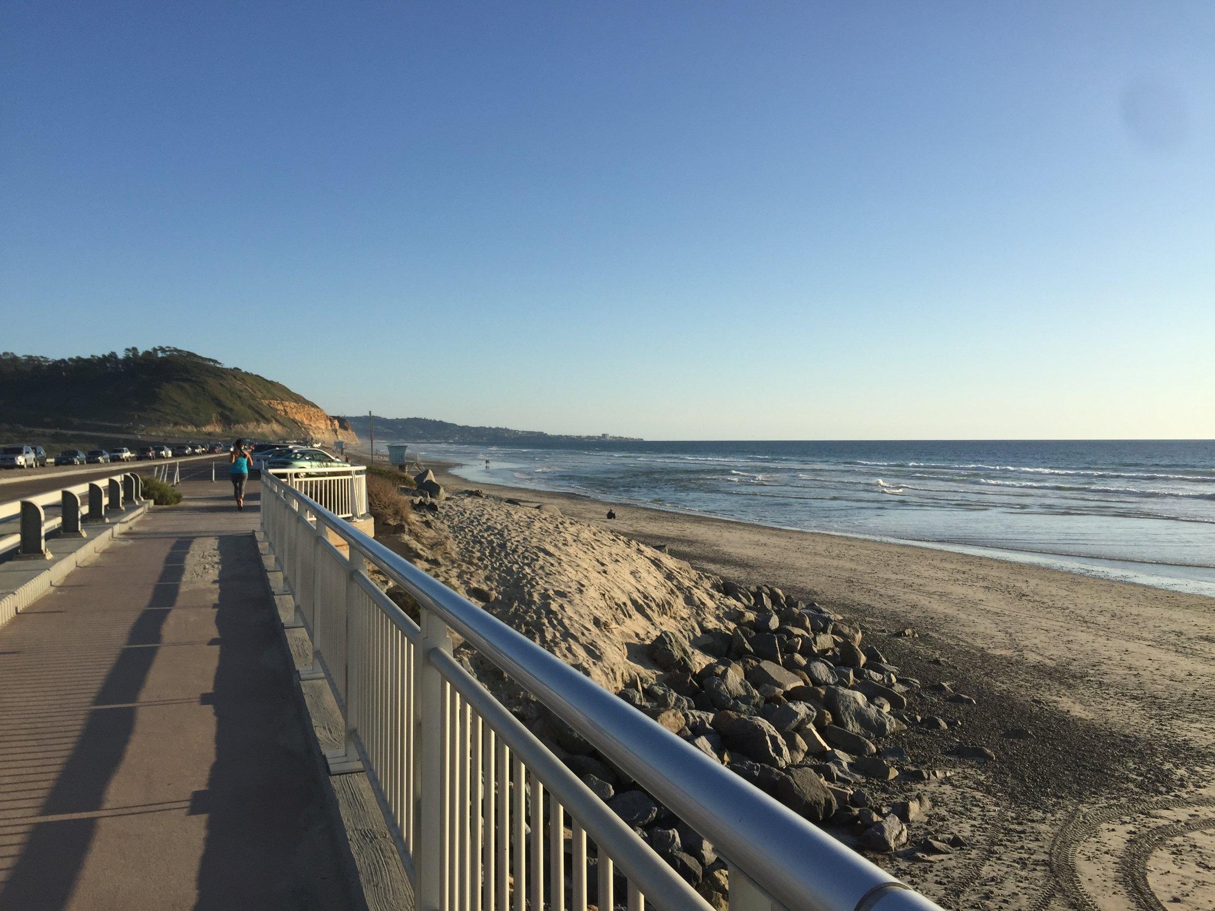 Jogging along Torrey Pines State Beach.