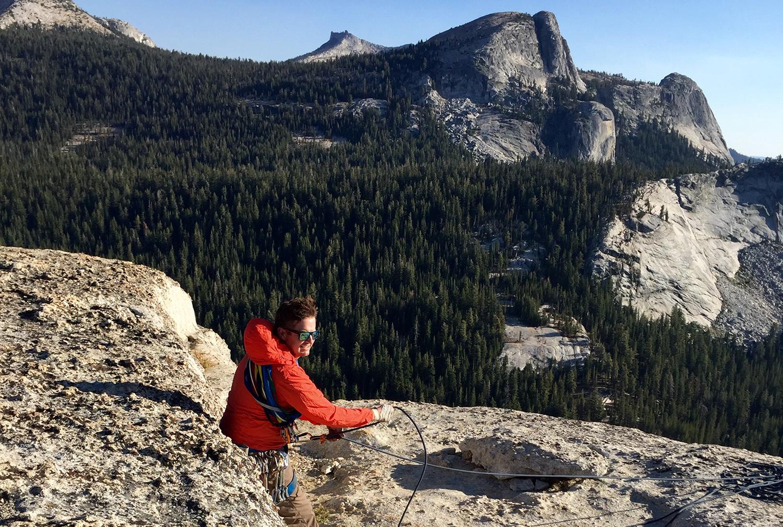 Tyler belaying in Tuolumne Meadows, Yosemite National Park.