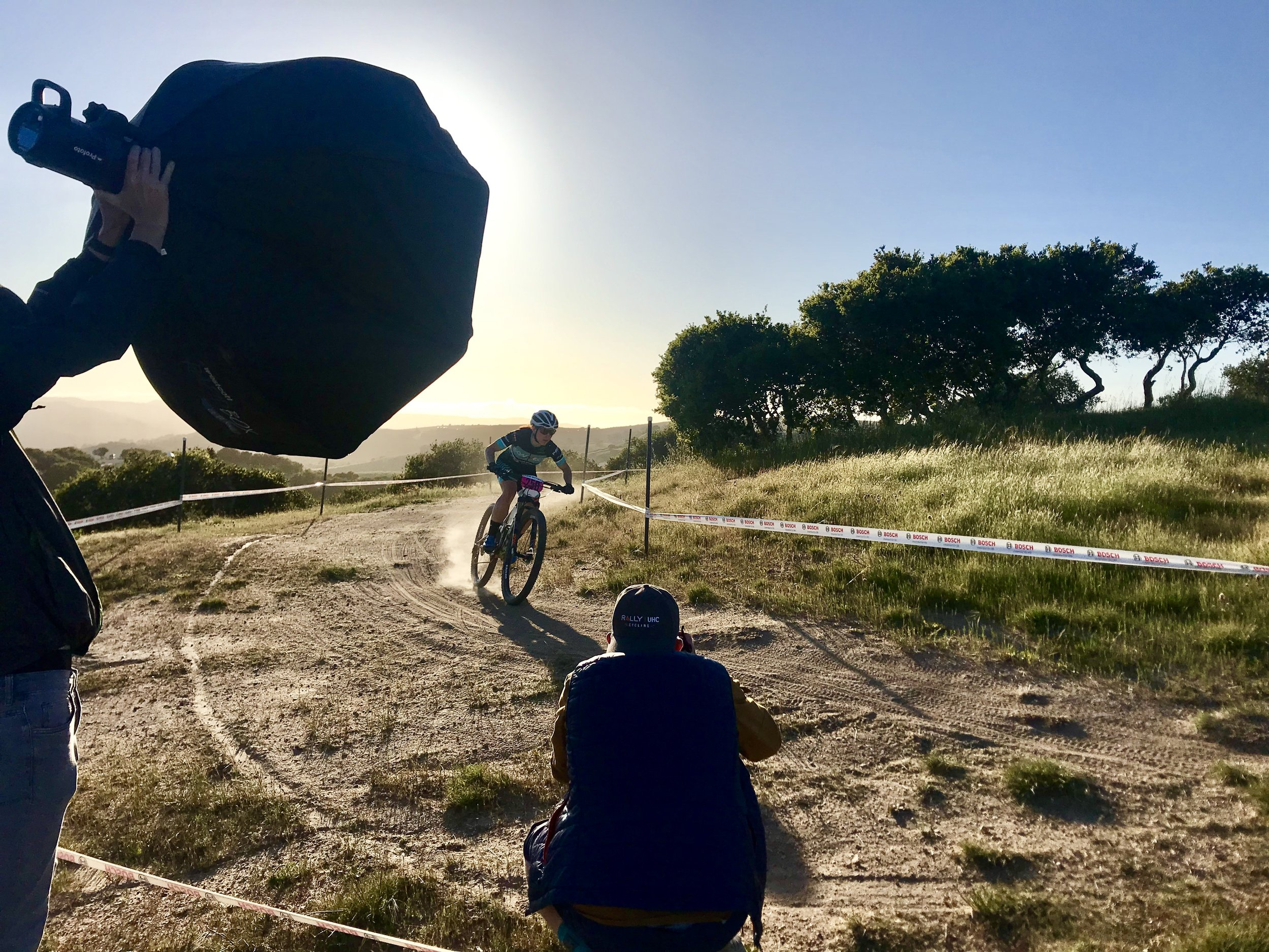 Pro rider  Kelly Catale  during our  Seven Cycles  photo shoot at the Sea Otter Classic with photographer  Wil Matthews  and  Jake Orness .