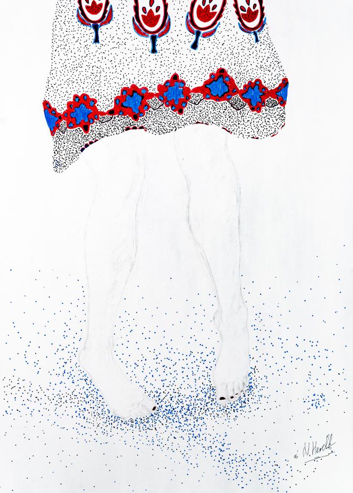 Zeichnungsreise - Bild 1, 2016  50 x 70 cm, Pappwabenplatte grundiert, Bleistift, Tuschestifte, Nagellack