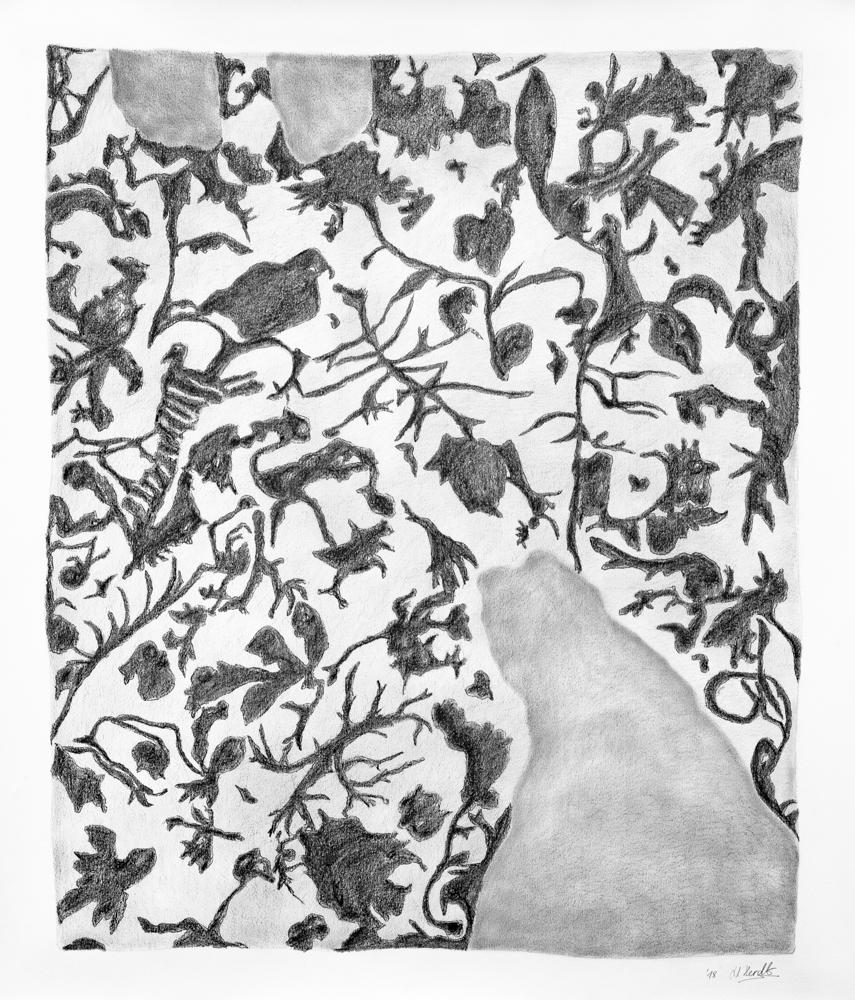 Zeichnung unterwegs, 2018, Graphit auf Papier, Motivmasse: 77 x 64 cm