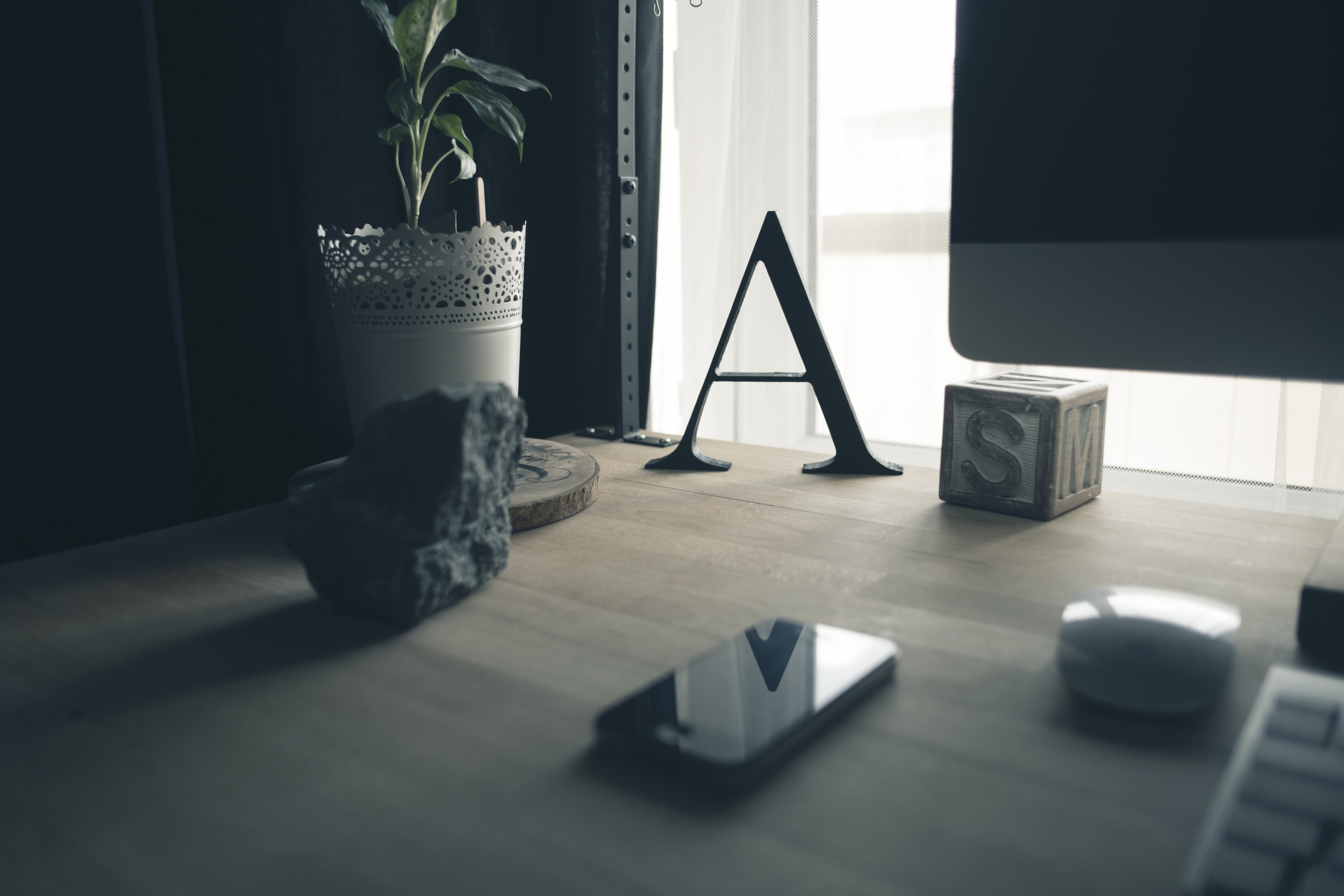 Letter A on work desk