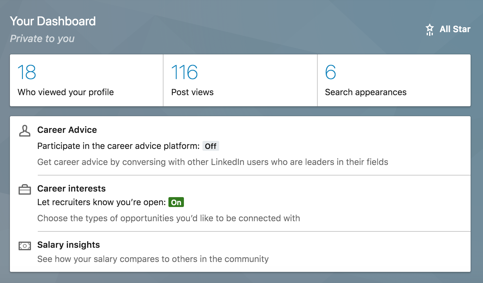 linked in dashboard