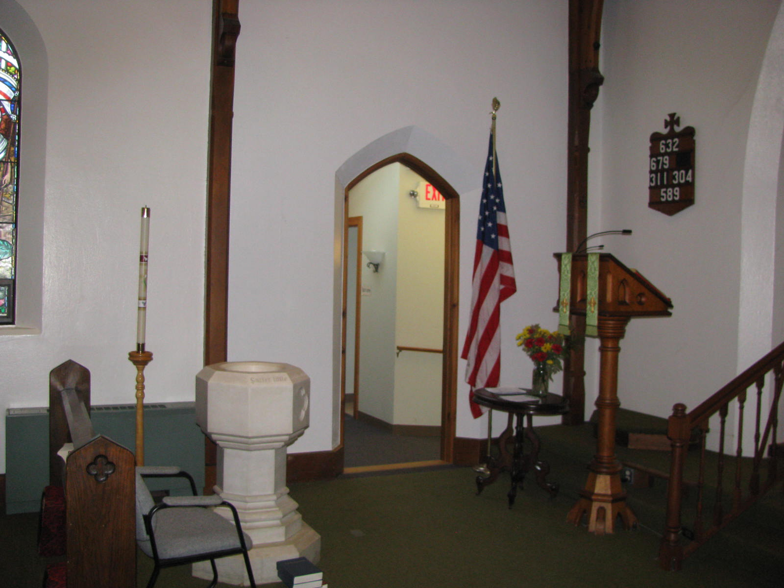 Exit to Bathrooms and Fellowship Hall