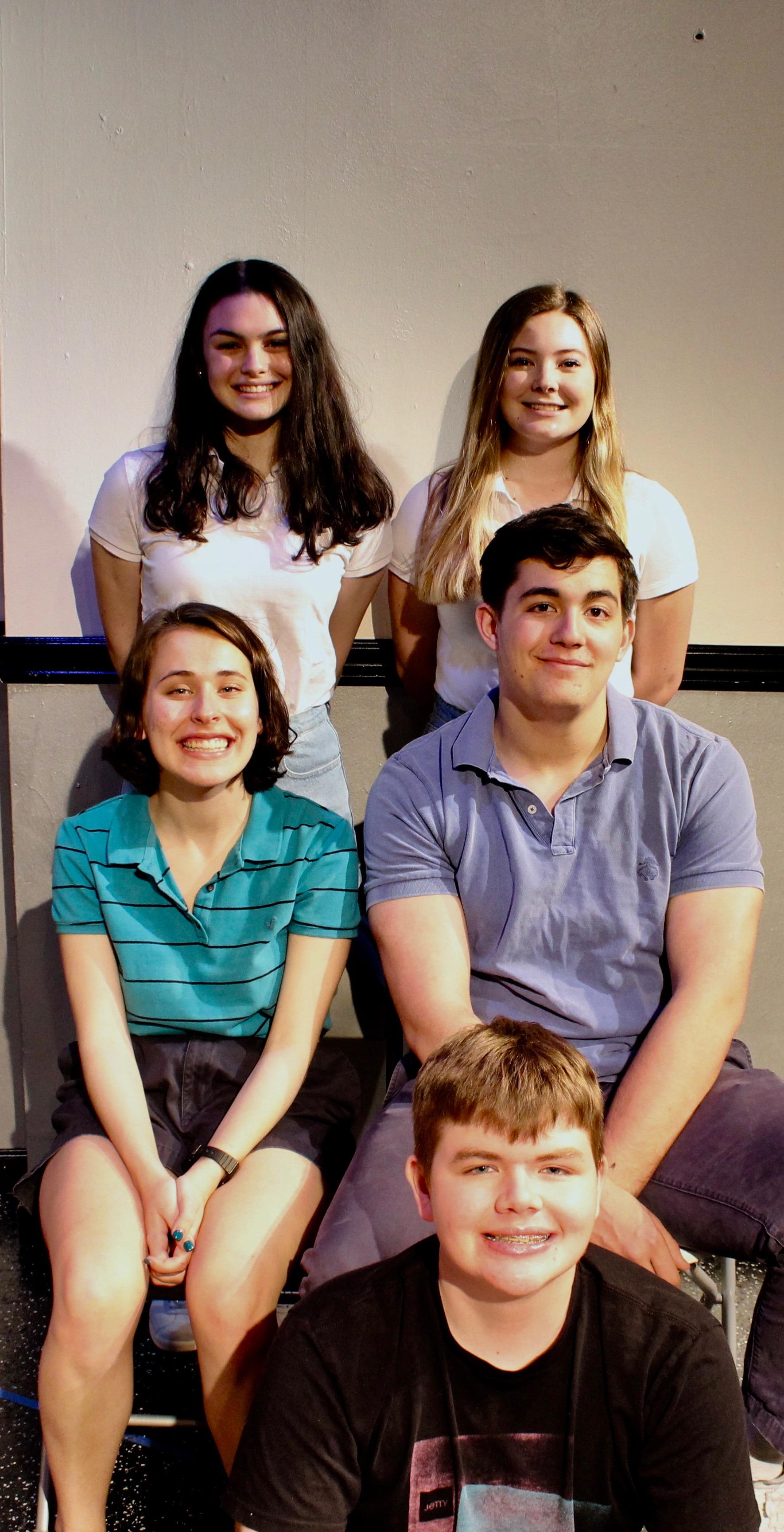 Clockwise from top left: Casey Rae Borella as Kiki, Caitlin Ladda as Sarah, Liam Gerard as Martin, Patrick Napolitano as Kurtz, Katie Kunka as Loony