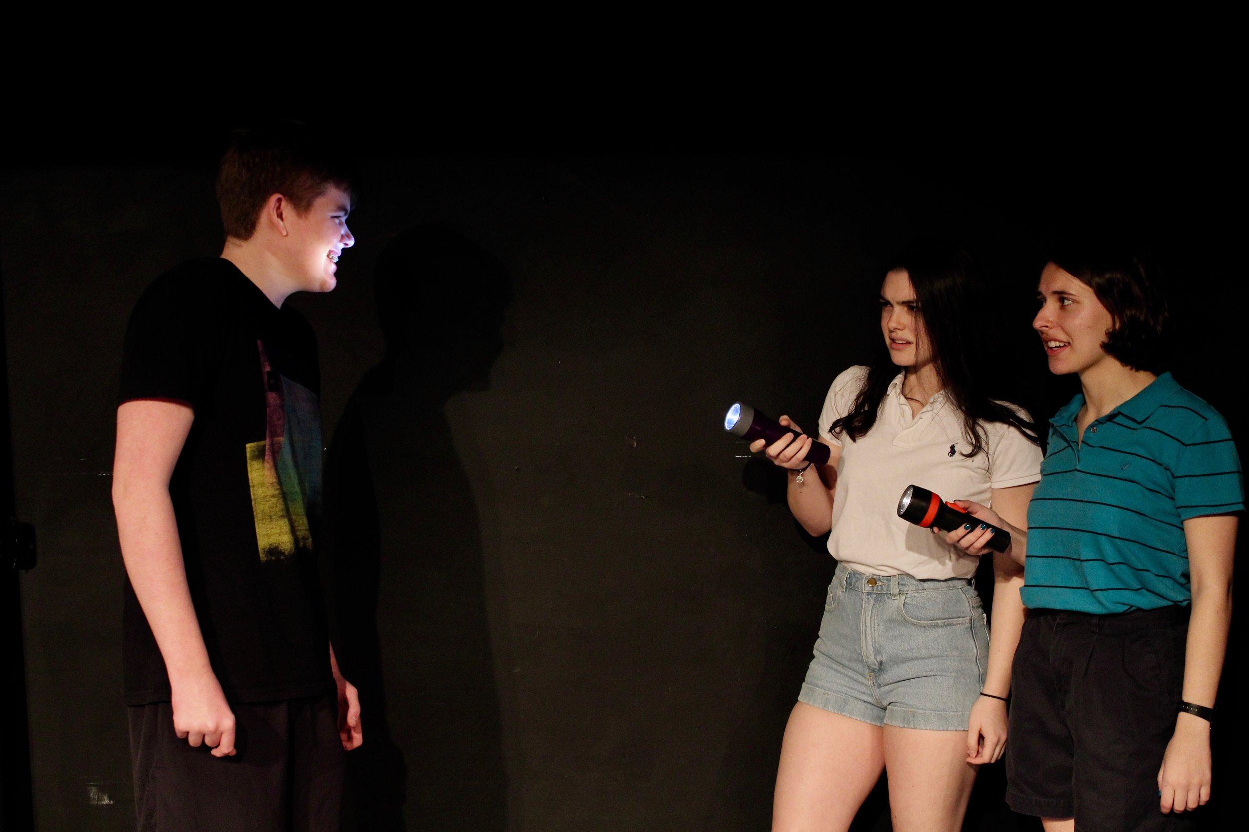 From left: Patrick Napolitano as Kurtz, Casey Rae Borella as Kiki, Katie Kunka as Loony