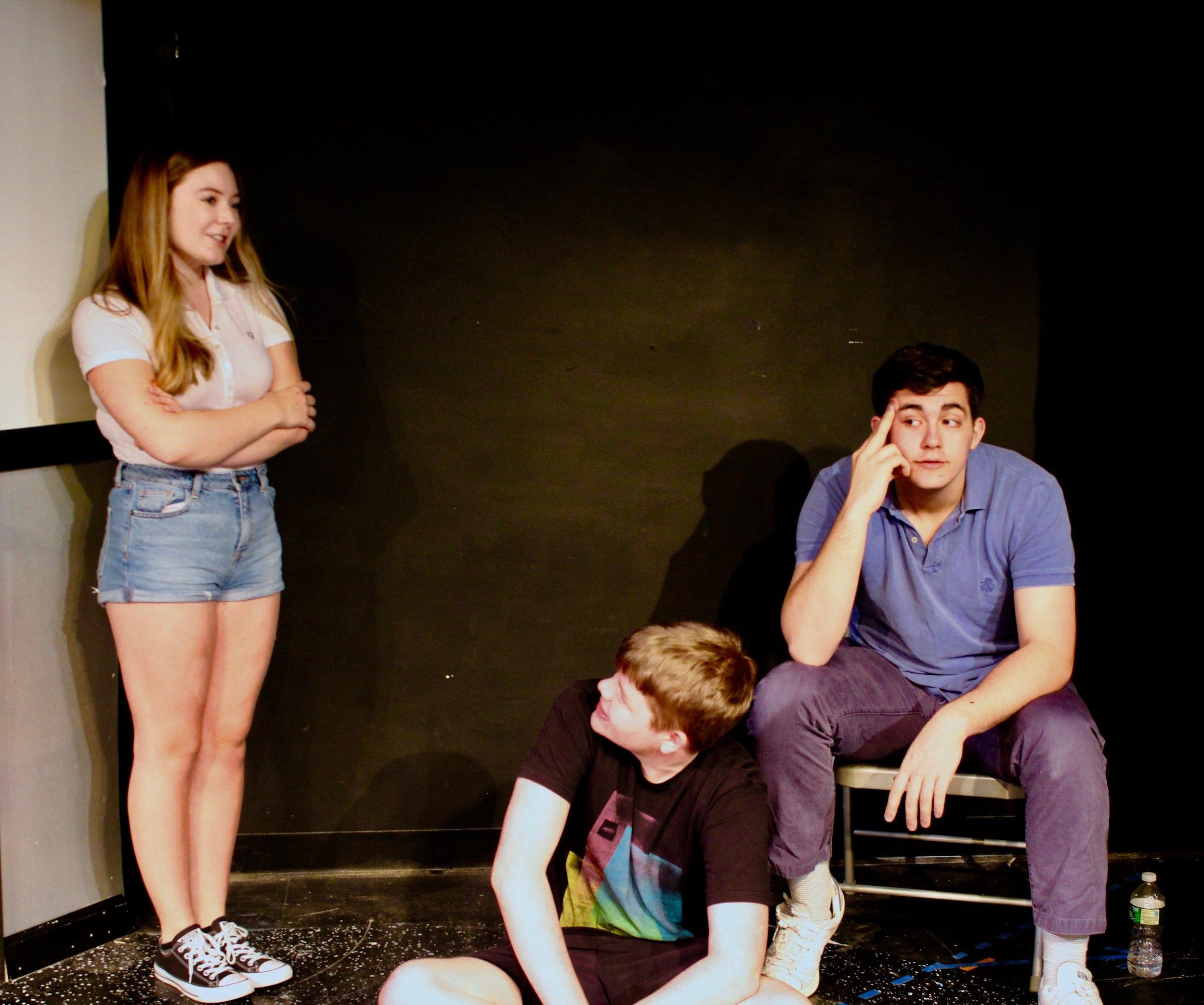 From left: Caitlin Ladda as Sarah, Patrick Napolitano as Kurtz, and Liam Gerard as Martin