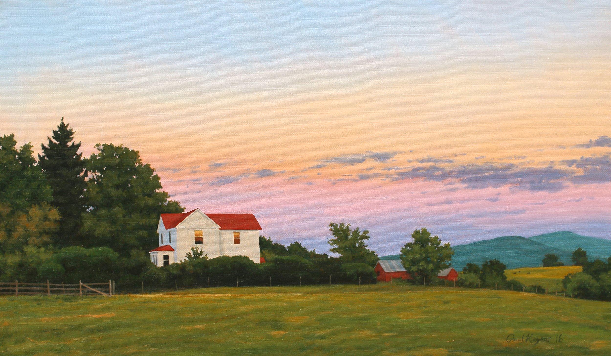 """Farm House at Sunset"" 12x20"" oil on linen"