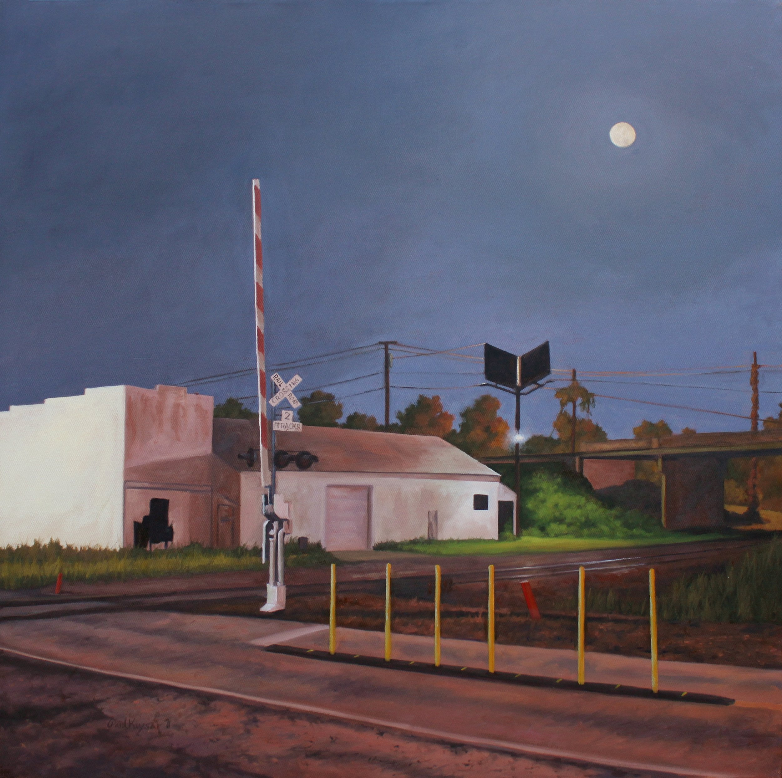 """Corban Ave Railroad Crossing, Right"" 30x30"" oil on canvas"