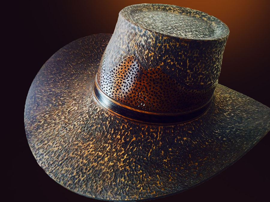 Wooden hat by Jerry Measimer