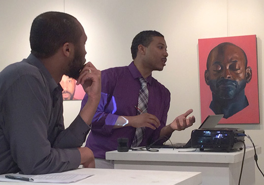 Painters Will Thomas and Bryan Wilson, talking at their Opening Reception, March 2017