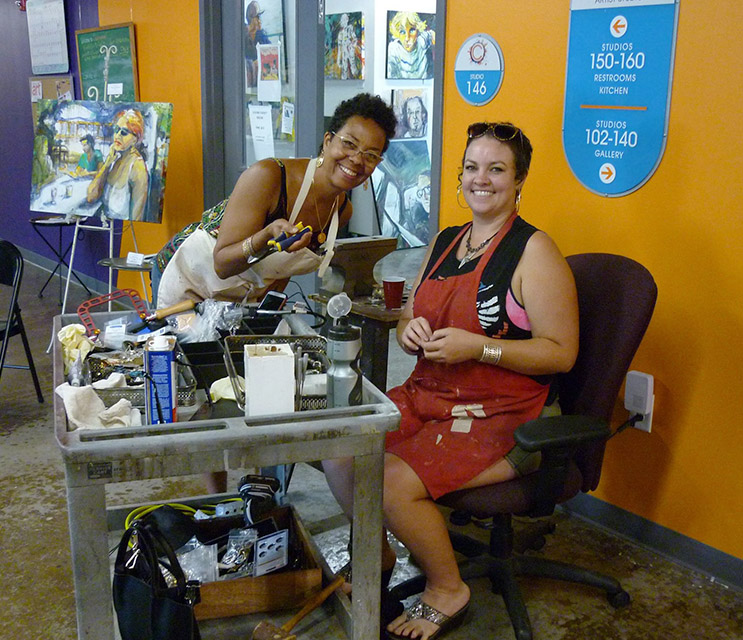 Barbara Ellis & Dusti Williams, Clearwater Artists Coalition members and resident artists at ClearWater!