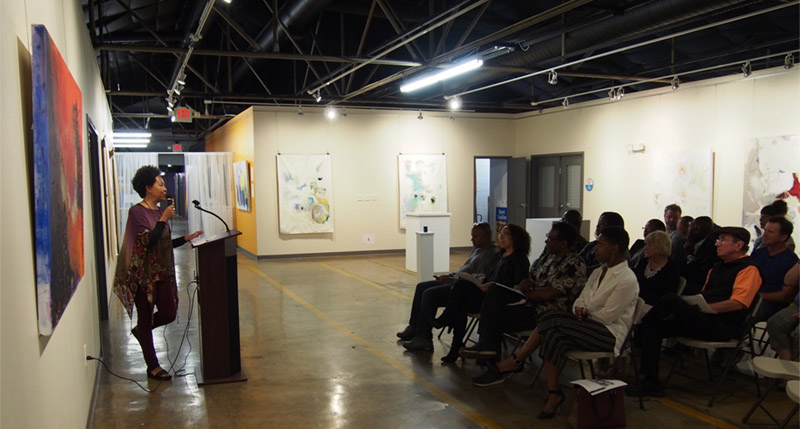 Barbara Ellis giving her Artist Talk to an appreciative audience, October 7, 2017
