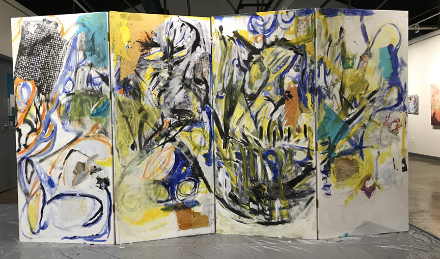 The final painting created by Mikel Frank and Gerard Amsellem on July 14. See photos and video of it in process- where you can hear the live jazz improv by keyboardist, Noel Freidline-- on our FaceBook pages for the event!