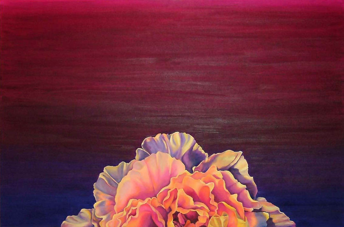 "Peony Sunset , Oil on Canvas, 24""x36"", 2006"