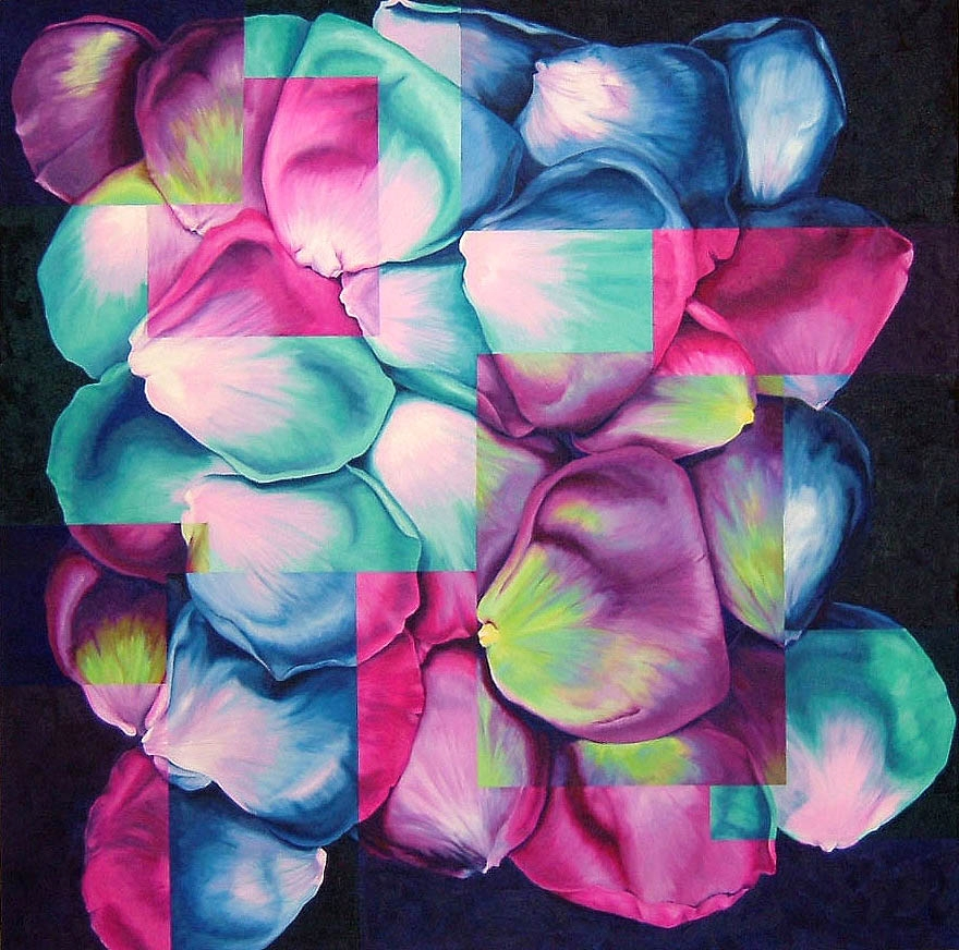 "Rose Petals , Oil on canvas, 36""x36"""