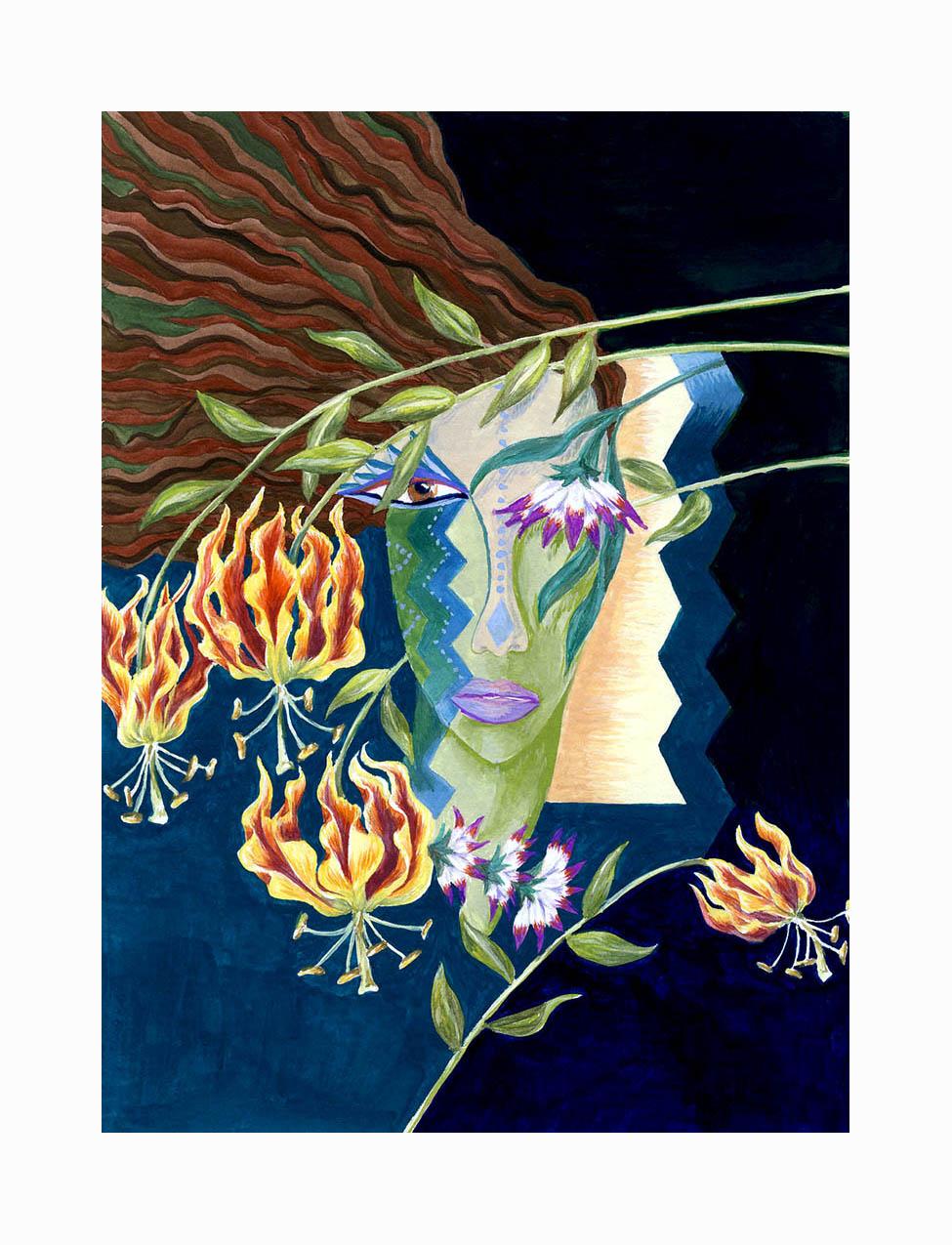 "Lady Fire Lily ,   Gouache, 7""x5"", $175"