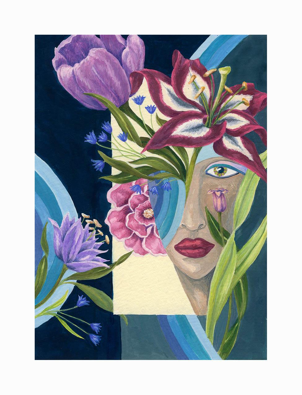 """Lady Bouquet , Gouache, 7""""x5"""", $175"""