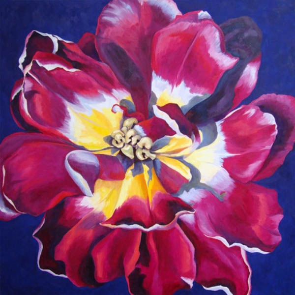"Double Tulip , Oil on canvas, 28""x28"", Private Collection"
