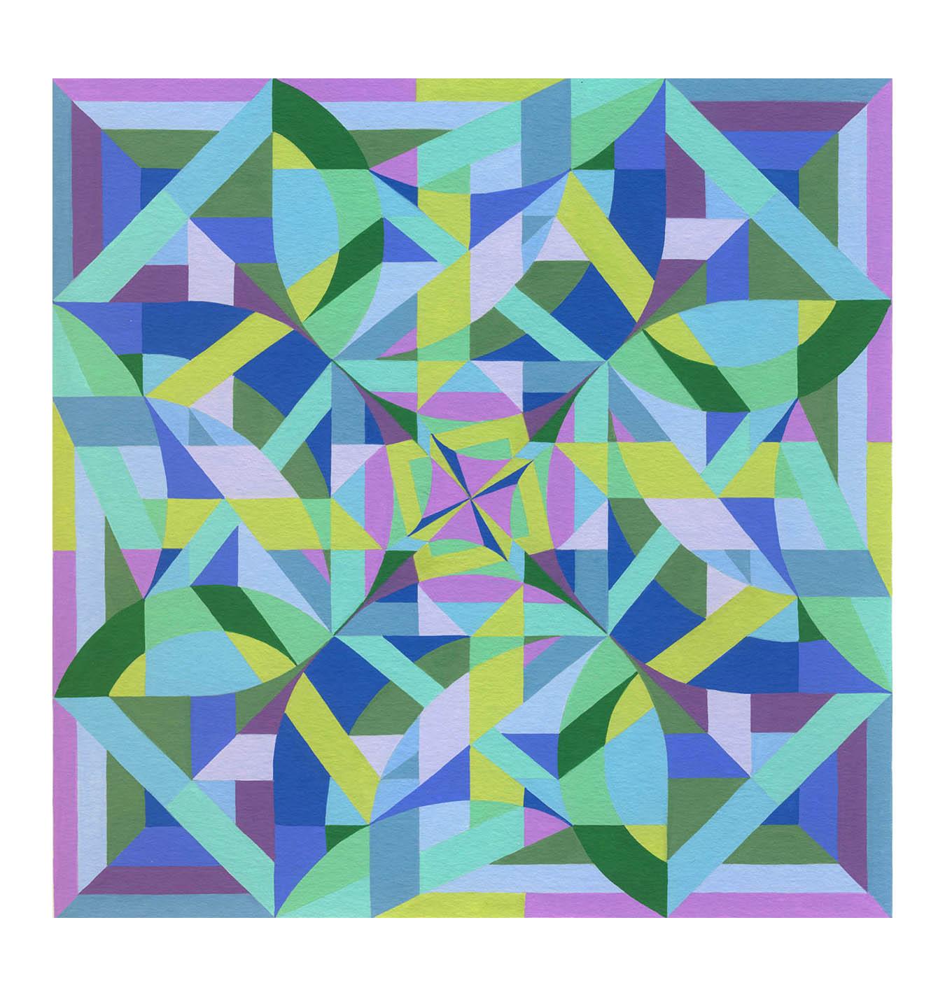 "Squares 5 , Gouache, 8"" x 8"", $225"