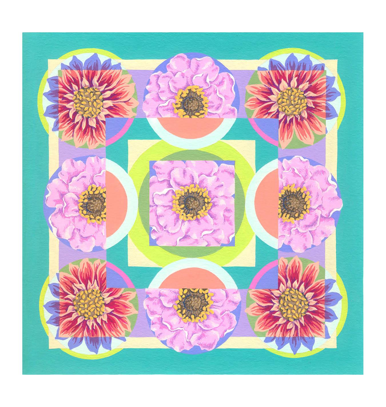 """Floral Square 2 , Gouache, 8"""" x 8"""", $225"""