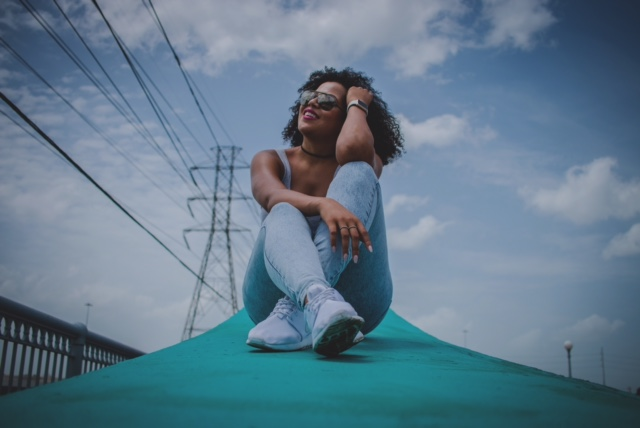 This is my other fav shot! Jesus took this...it looks like an ad campaign! So DOPE.  Tank: H & M | Jeans: Topshop | Shoes: Nike.com | Sunglasses: Dolce & Gabbana | Choker: Forever 21