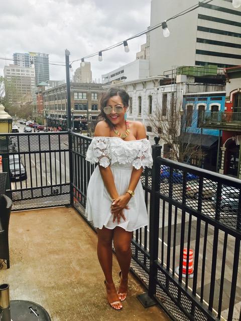 Birthday Gal x Downtown Houston!  Dress: Francesca's | Shoes: Lola Shoetique | Necklace: Francesca's | Earrings: Kendra Scott
