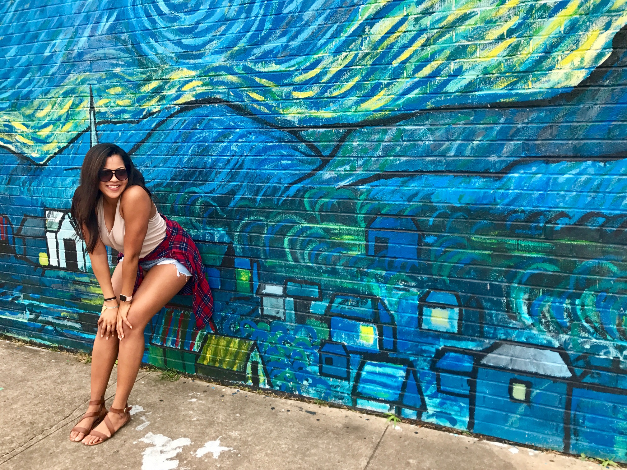 Waco has a lot of cool murals and places to take fun blog pics. This is a replica of 'Starry Night'