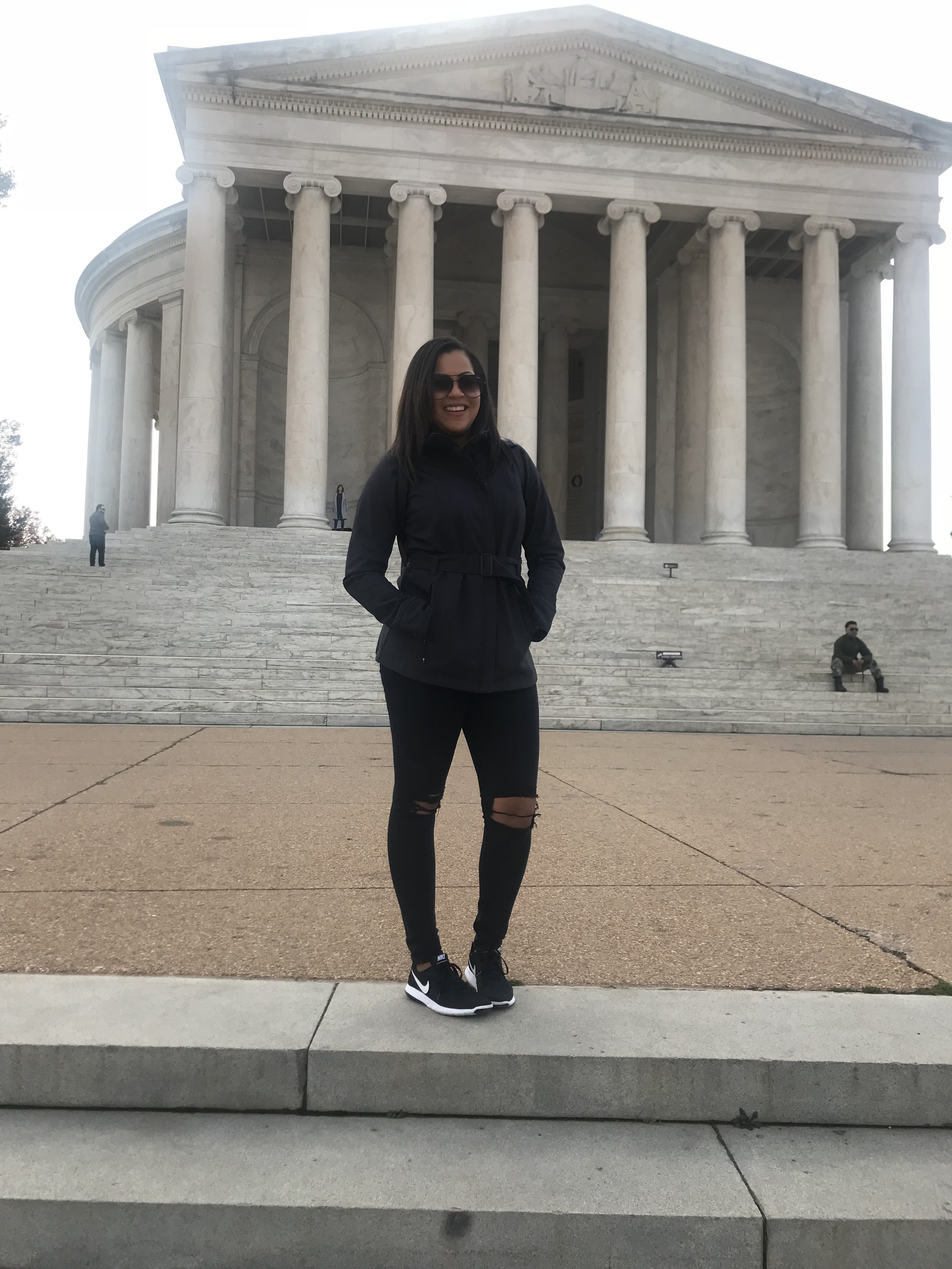 On the steps of the Jefferson memorial. None of my pics would do the actual monument justice ;)