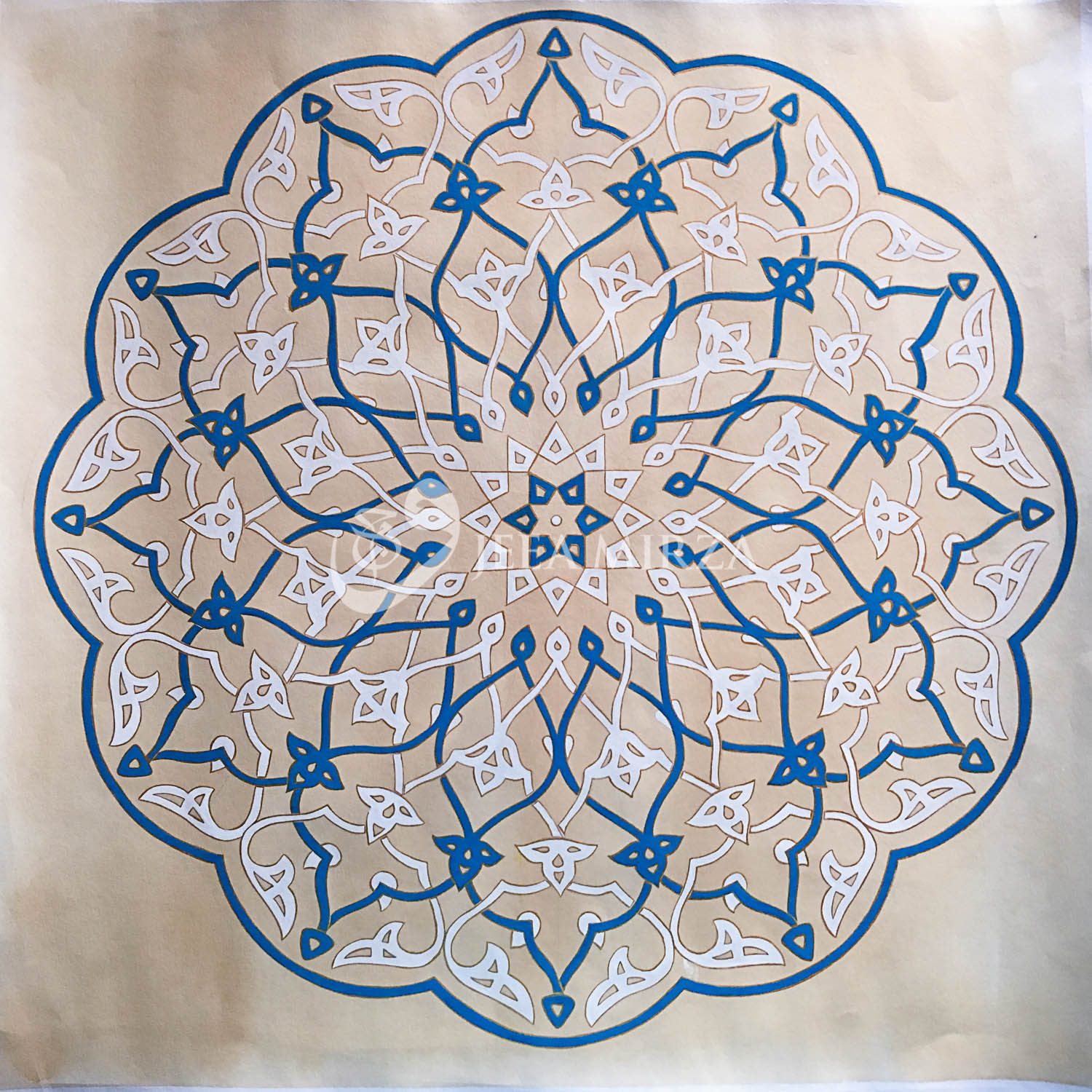 © 2016 Wajeea Mirza.   This is a pattern from the Jameh (Friday) mosque in Yazd Iran.   (Analysis after Adam Williamson - The Art of Islamic Pattern)    Materials : gouache on tea stained Fabriano paper.