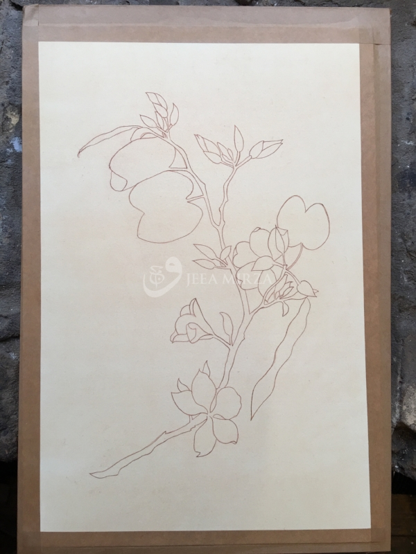 11. Final image - outlined using walnut ink on top of the red ochre pigment