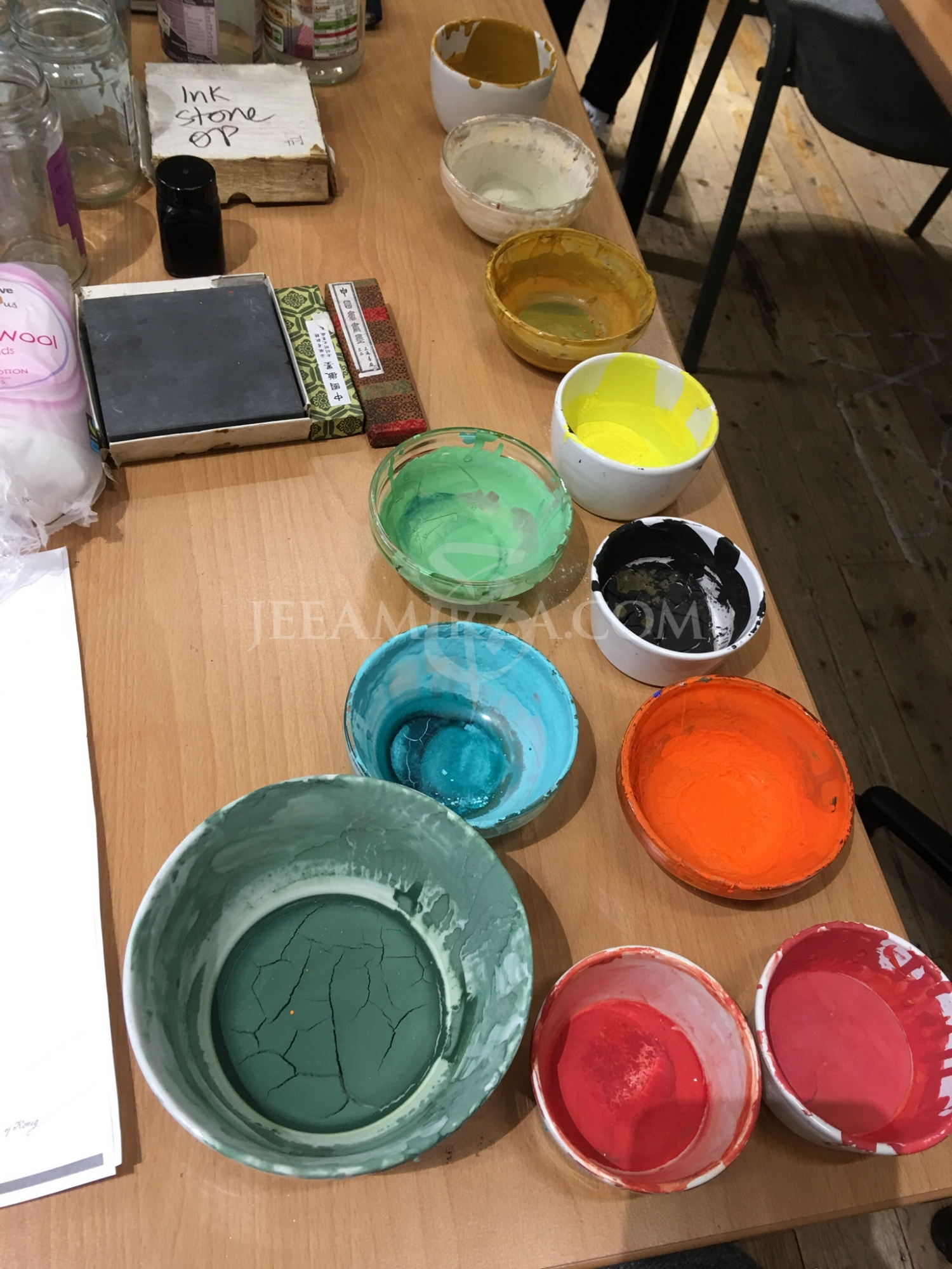 1. A selection of dried pre-mixed pigments