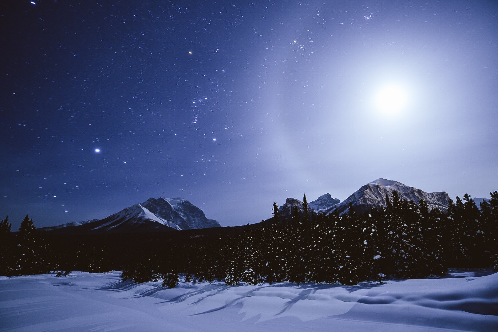 Isaac braved the cold and snapped a couple of beautiful photos at of the Lake Louise campground at night. Photo by:    Isaac Miller Photography