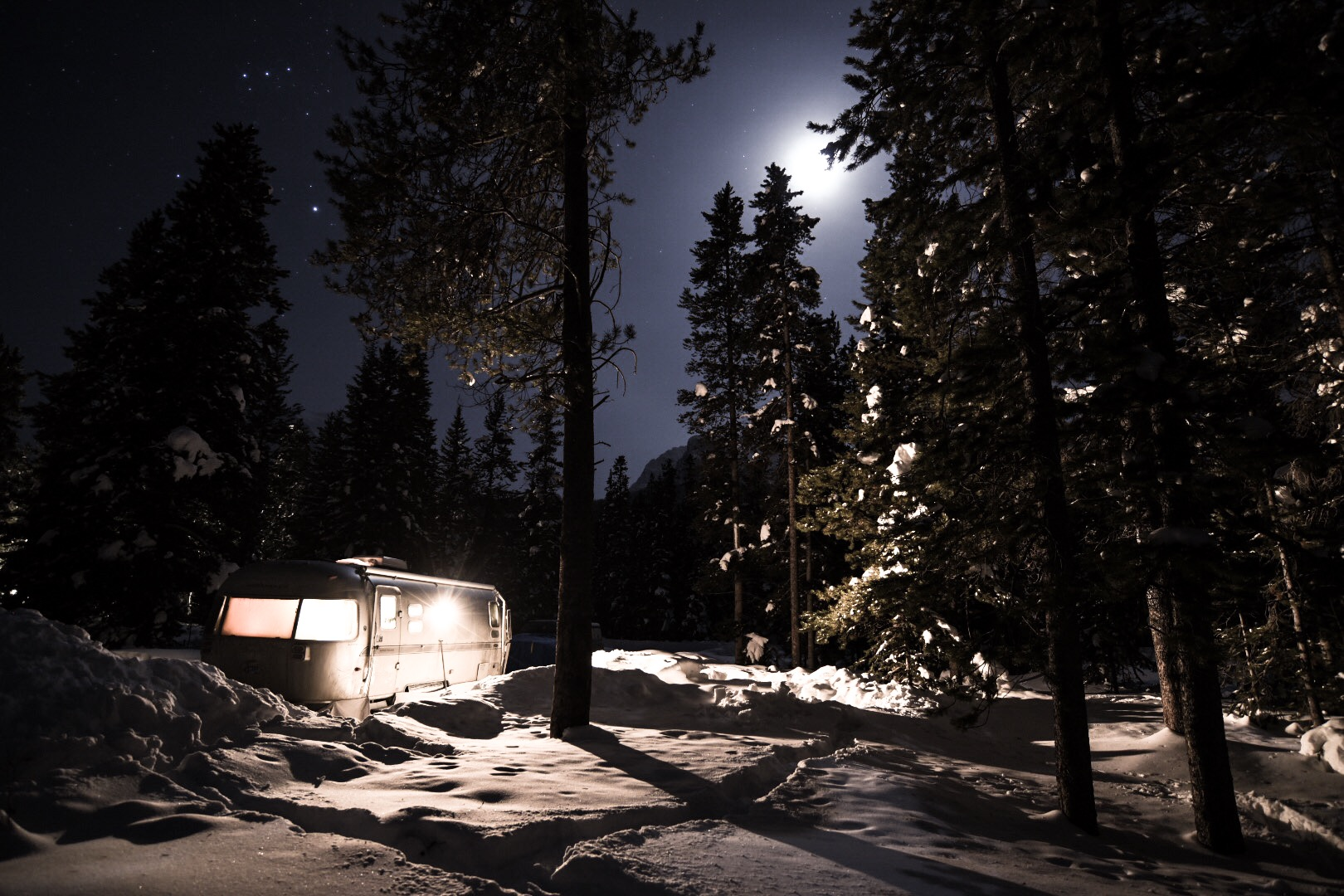 Trixie all lit up at night. I'm warm and cozy inside.  Photo by:    Isaac Miller Photography