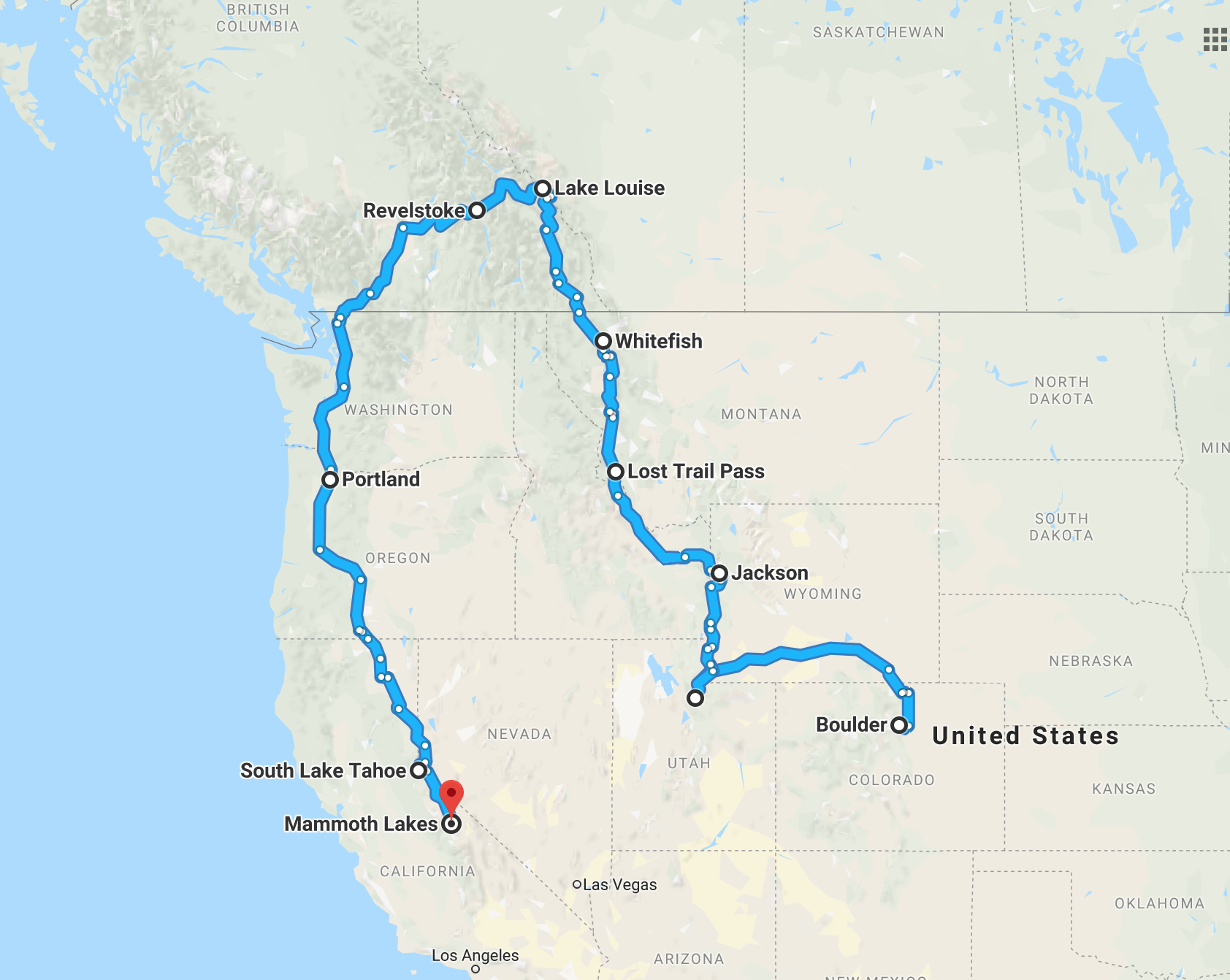 The general route of our roadtrip +/- a few roads, side trips and backtracks.