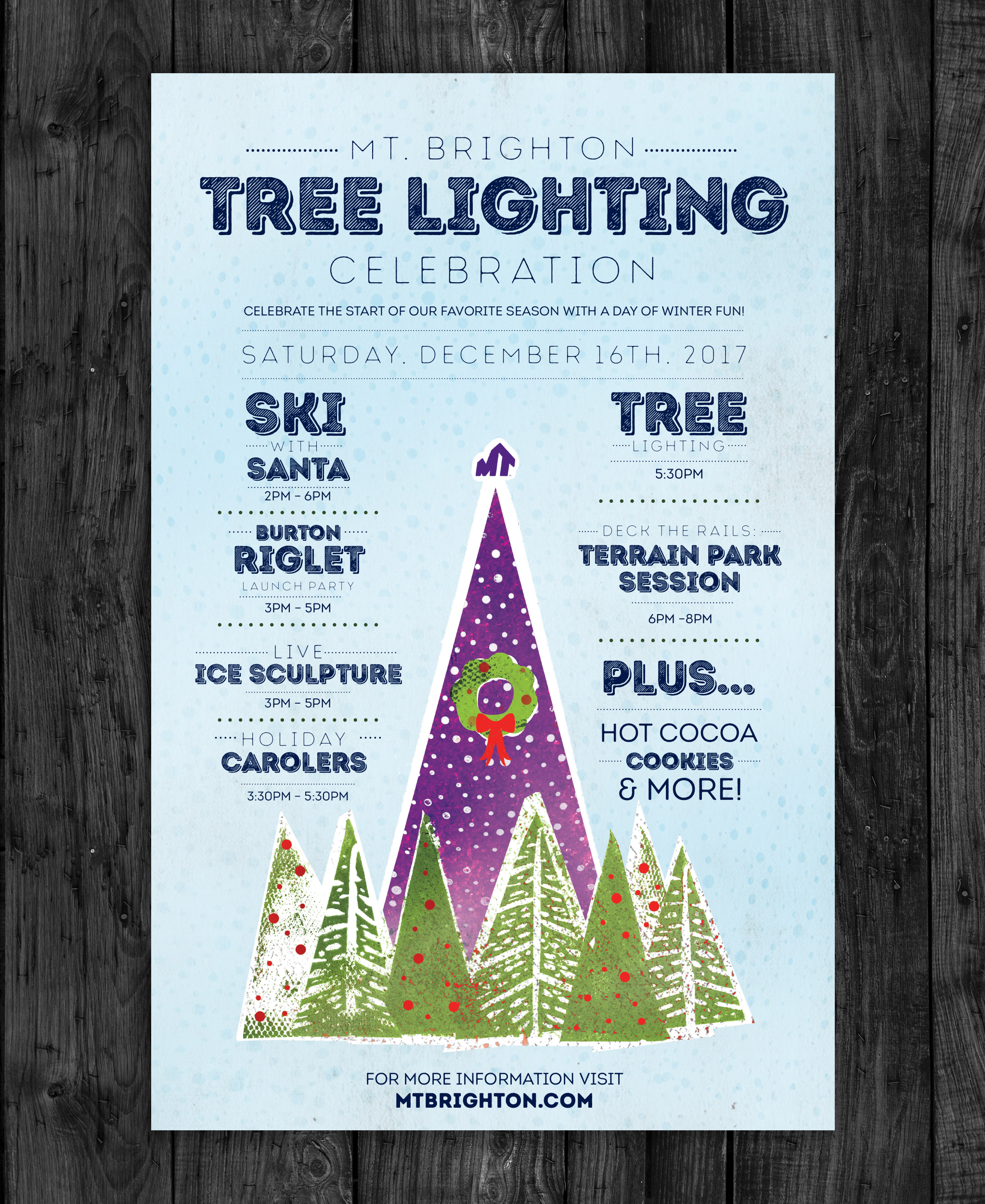 Client:  Mt. Brighton   Objective:  Develop a creative, playful, winter-themed campaign for a celebration at Mt. Brighton ski resort in Southeast Michigan.
