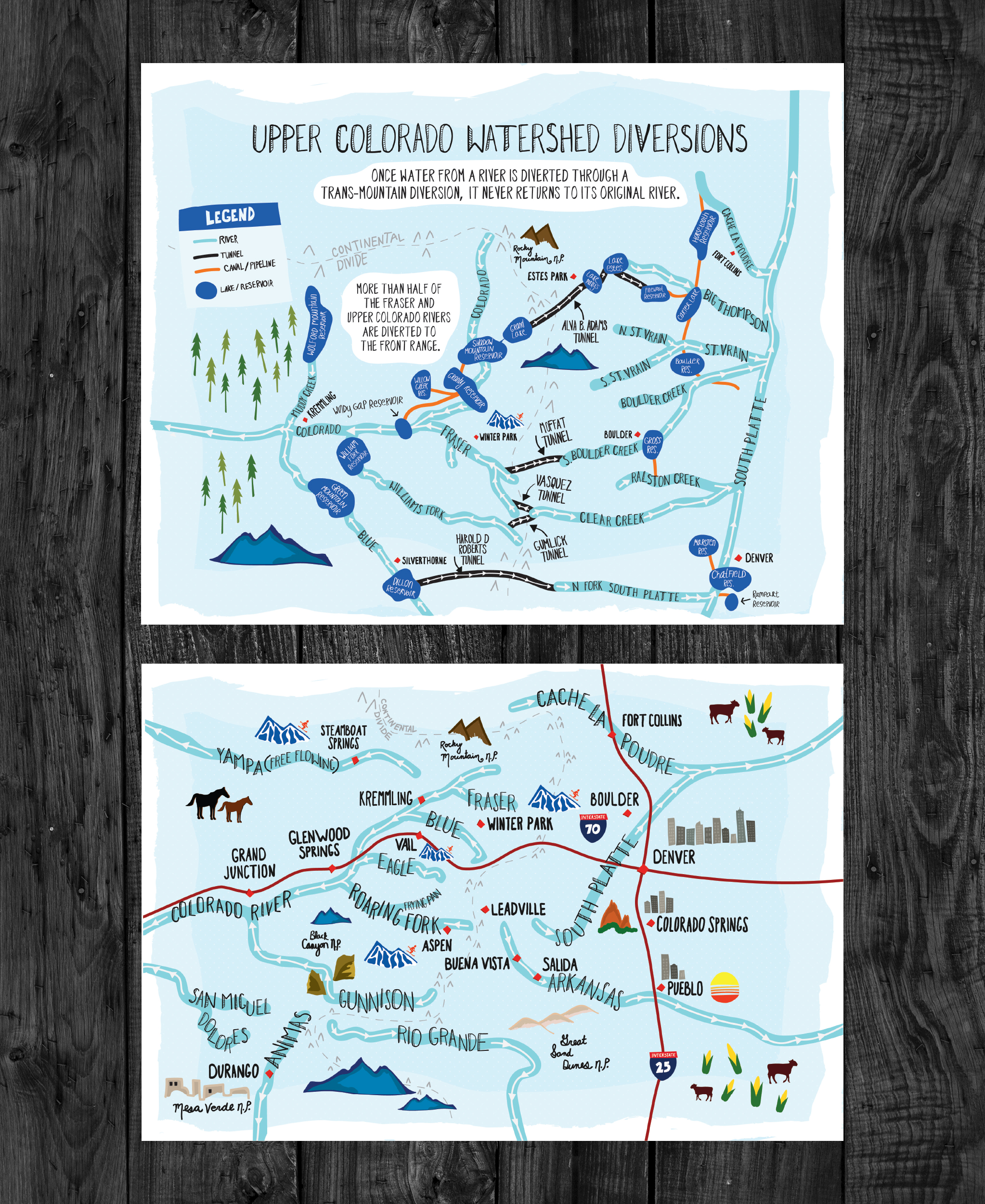 Client:  American Rivers   Objective:  Illustrate a map of the Colorado watershed in order to demonstrate the path water takes to get to the Denver front range. Graphics accompanied an article on  Medium.com
