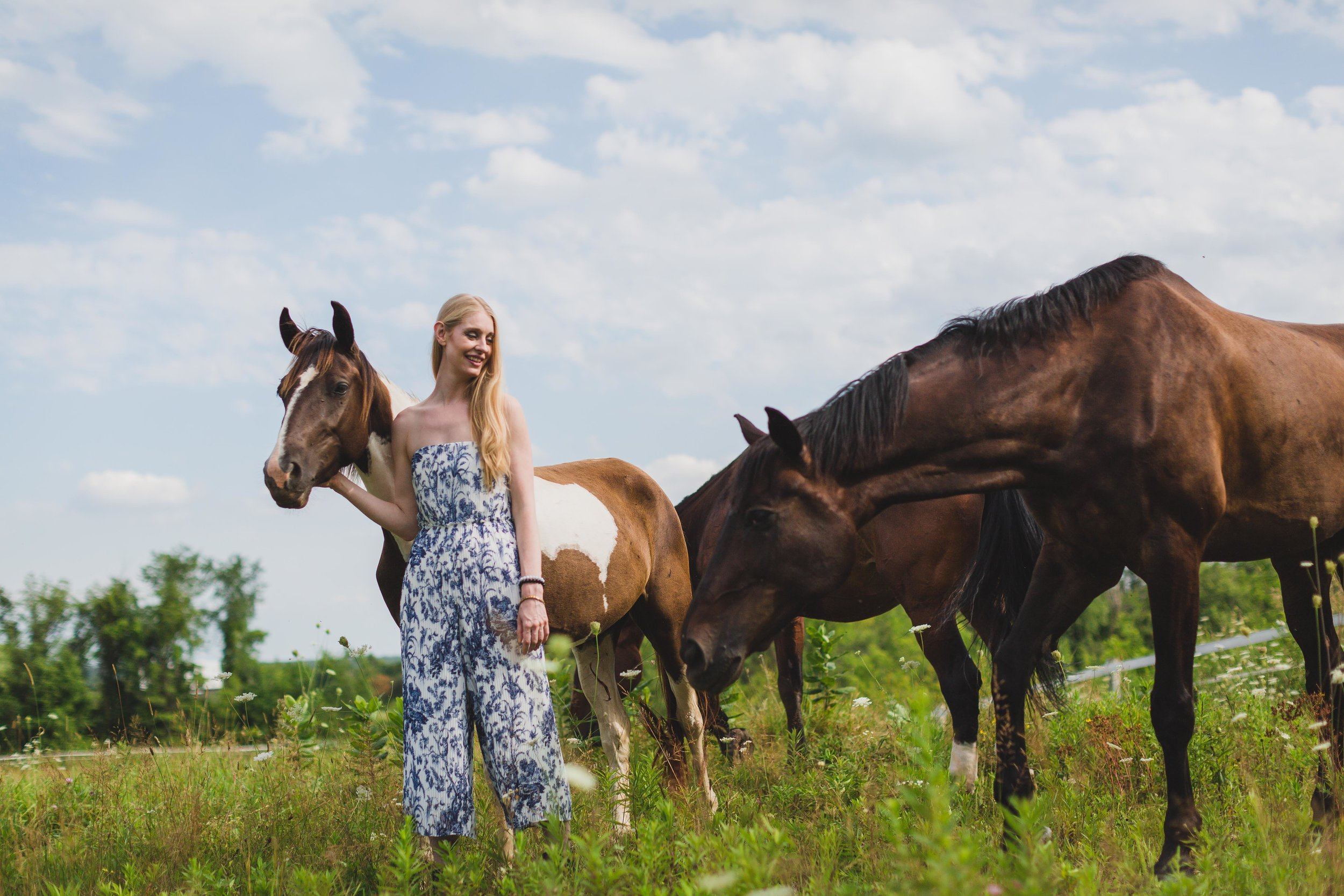 Shelly Burton enjoying the company of Pippy and Bruce, part of our healing with horses herd.